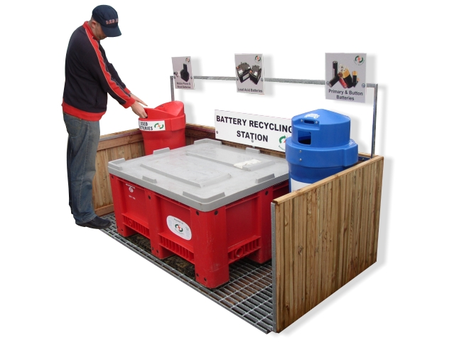 Sturdy Wood Finish Battery Recycling Station